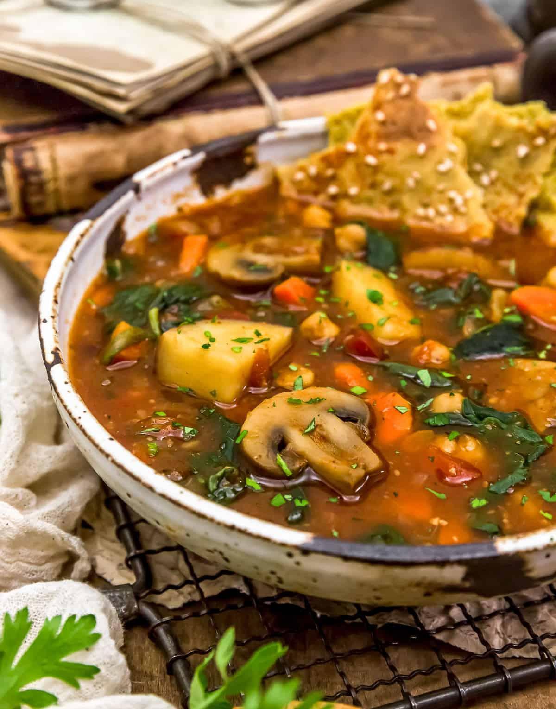 Close up of Chickpea Mushroom Shawarma Soup