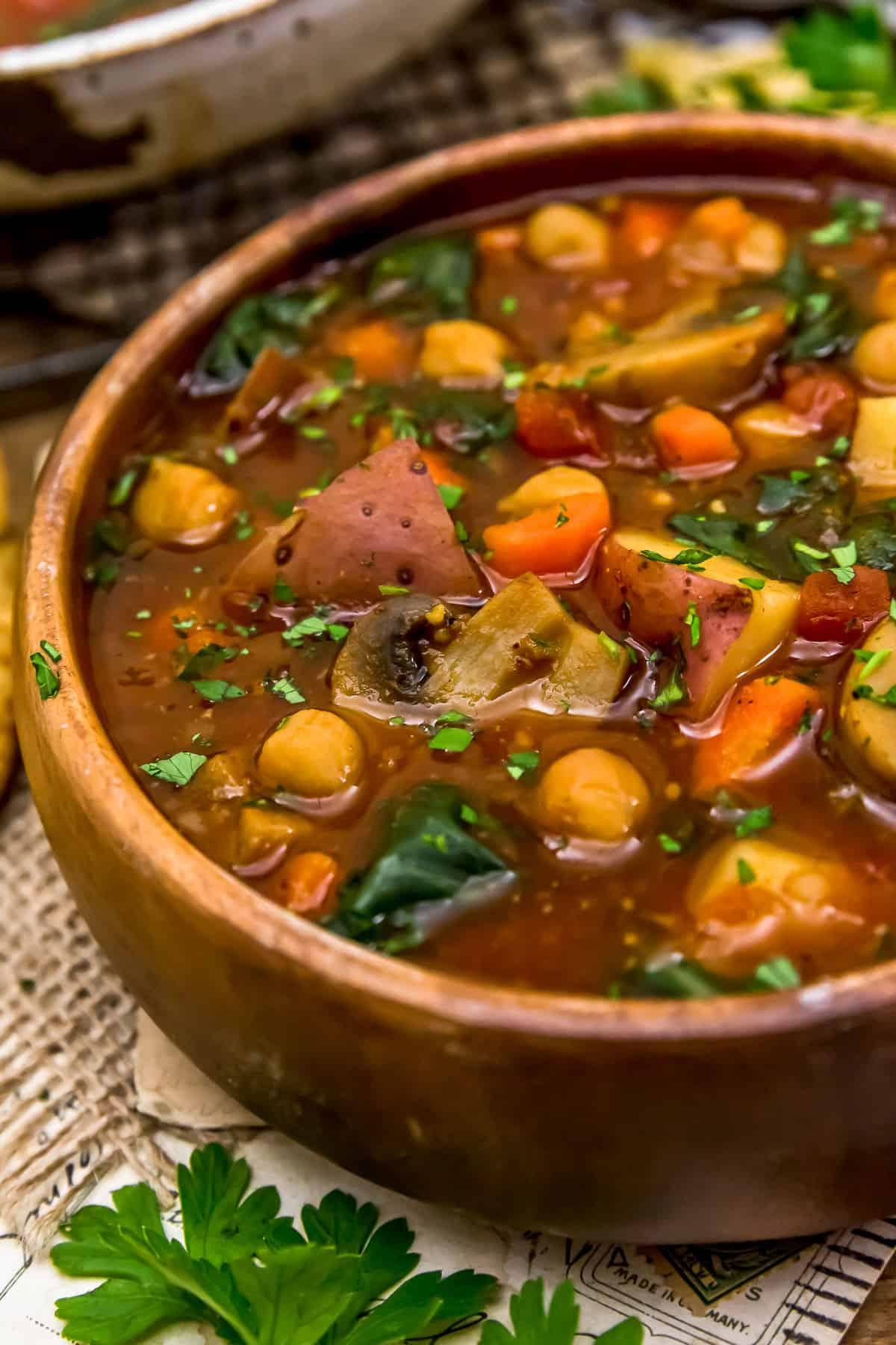 Bowl of Chickpea Mushroom Shawarma Soup