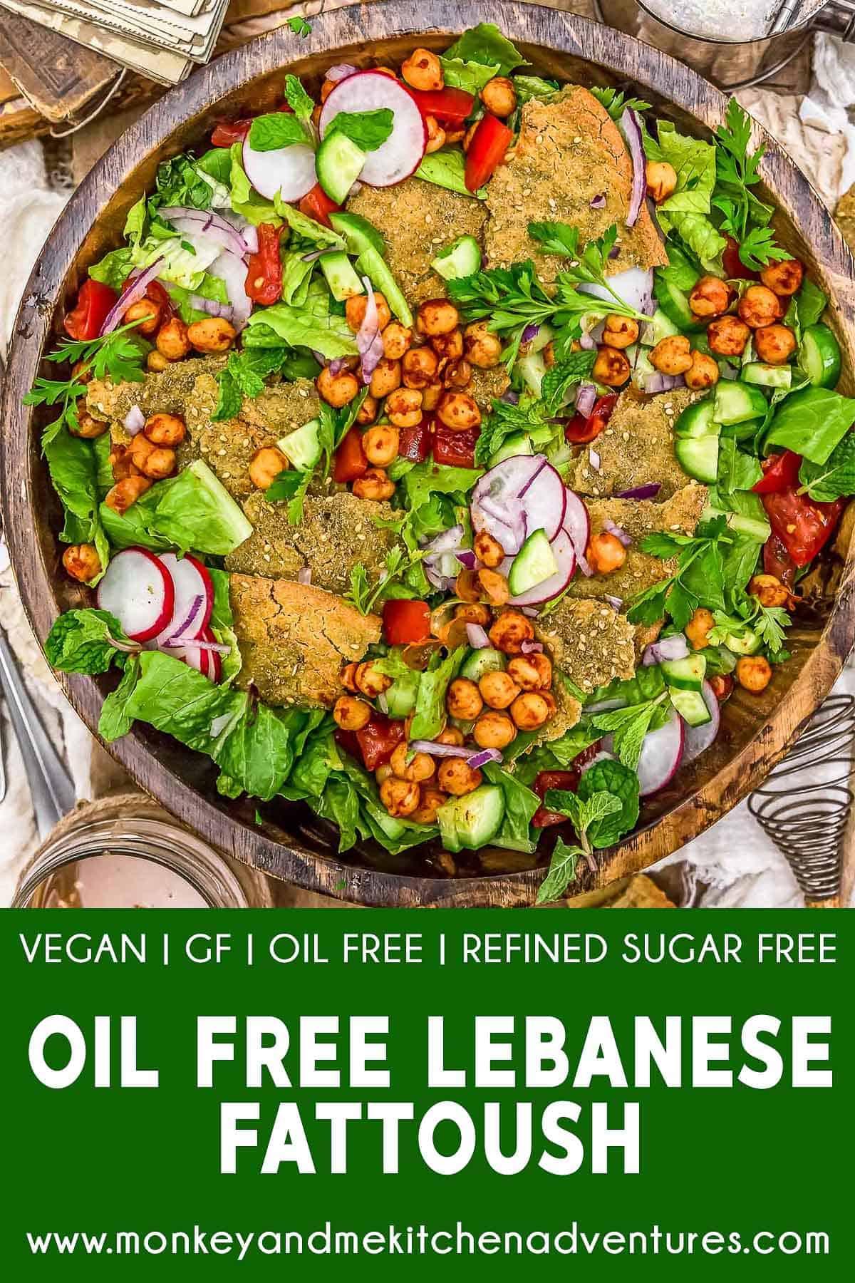 Oil Free Lebanese Fattoush with text description