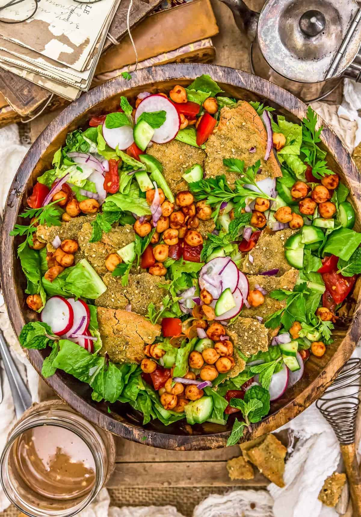Bowl of Oil Free Lebanese Fattoush