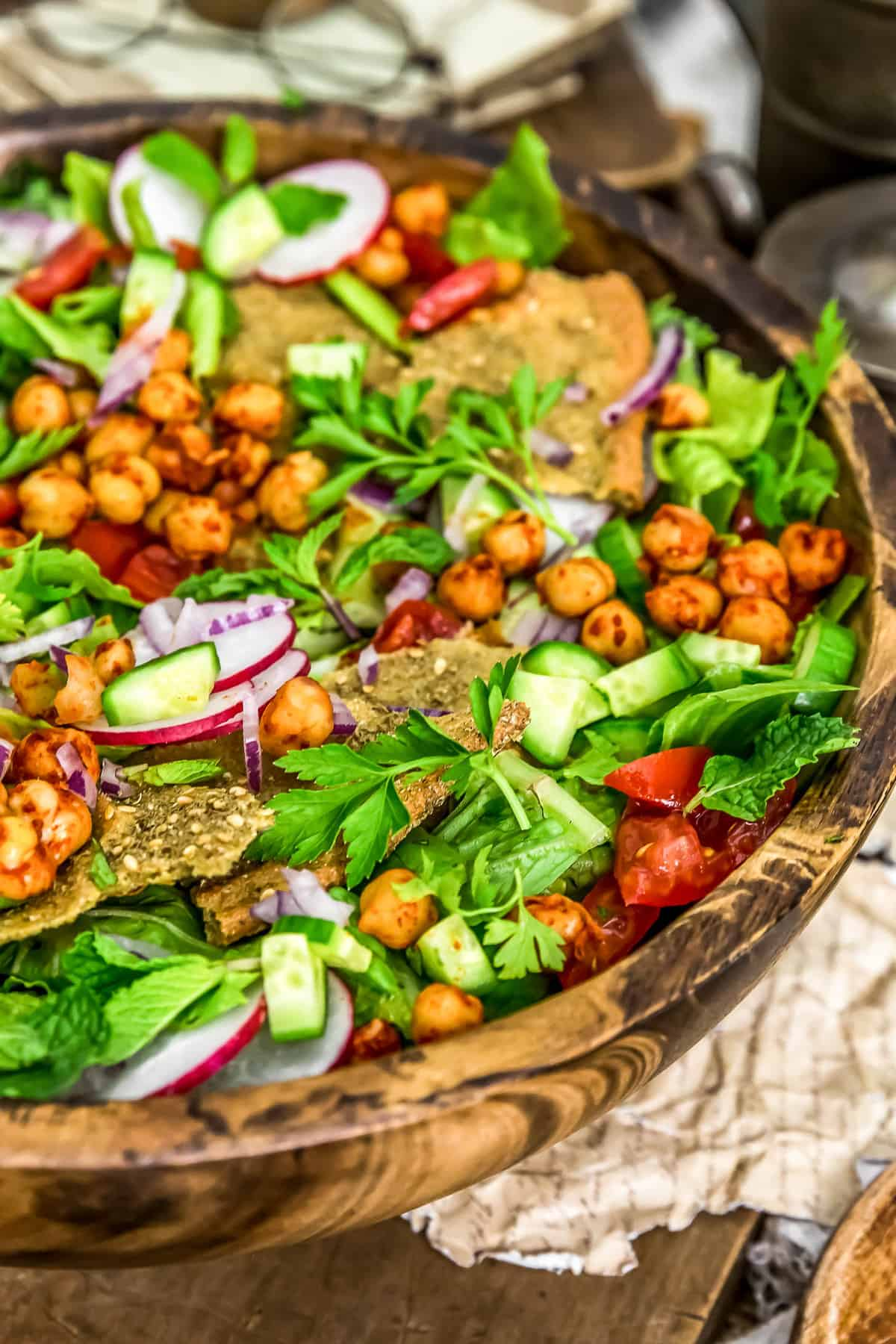 Close up of Oil Free Lebanese Fattoush