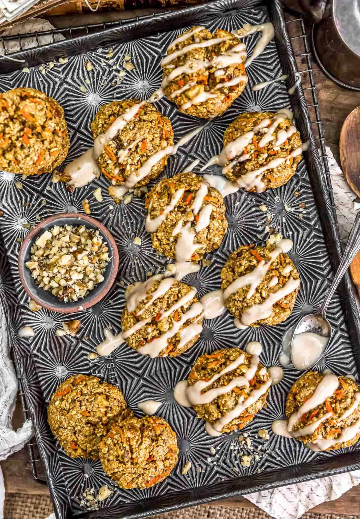 Vegan Carrot Cake Cookies on a baking try