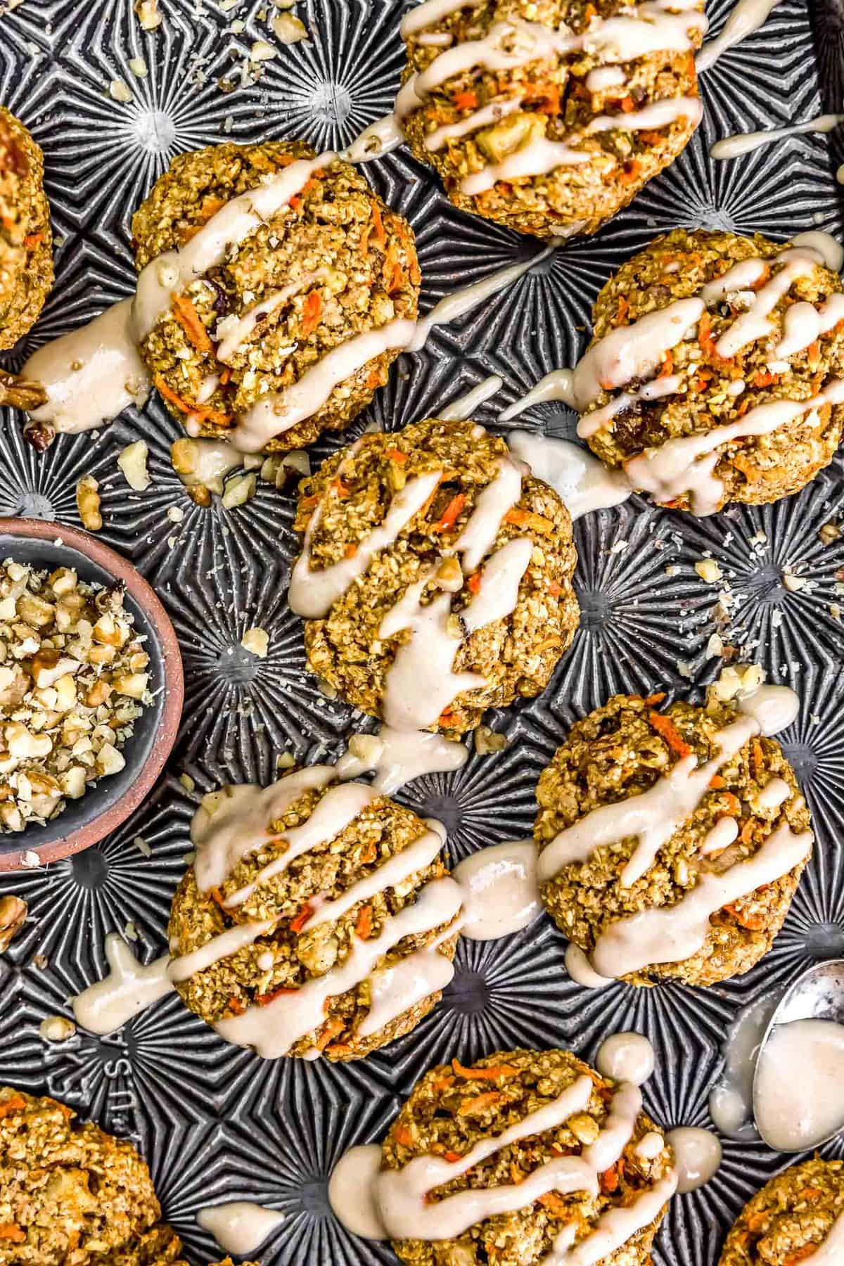 Vegan Carrot Cake Cookies on a tray