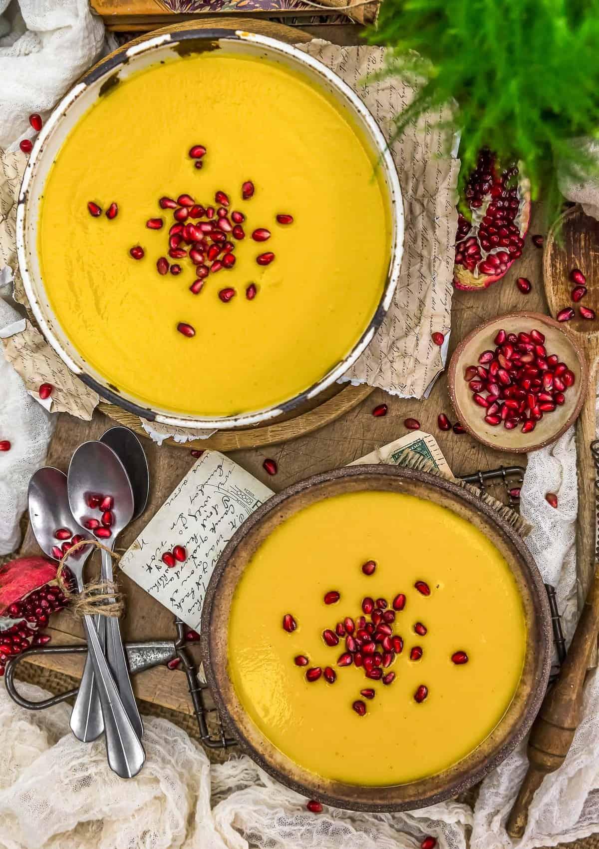 Tablescape of Vegan Creamy Autumn Soup