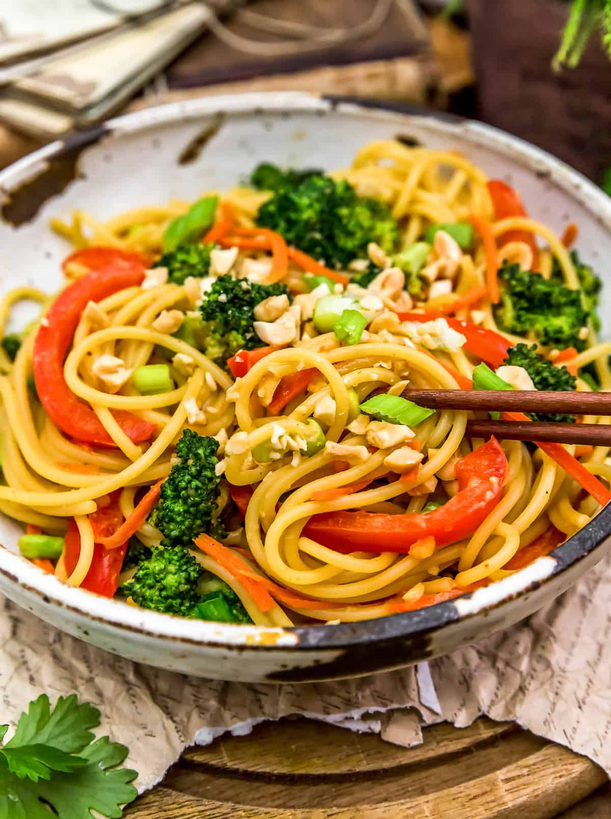 Eating Spicy Peanut Noodles