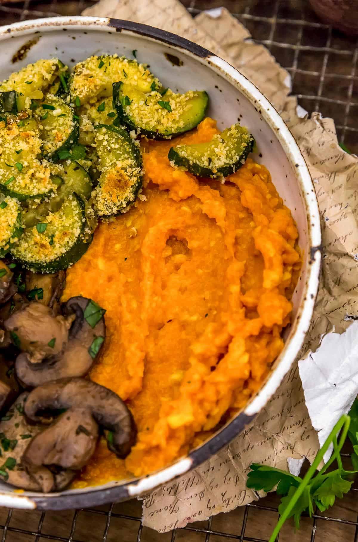 Sweet Potato Corn Mash in a veggie bowl