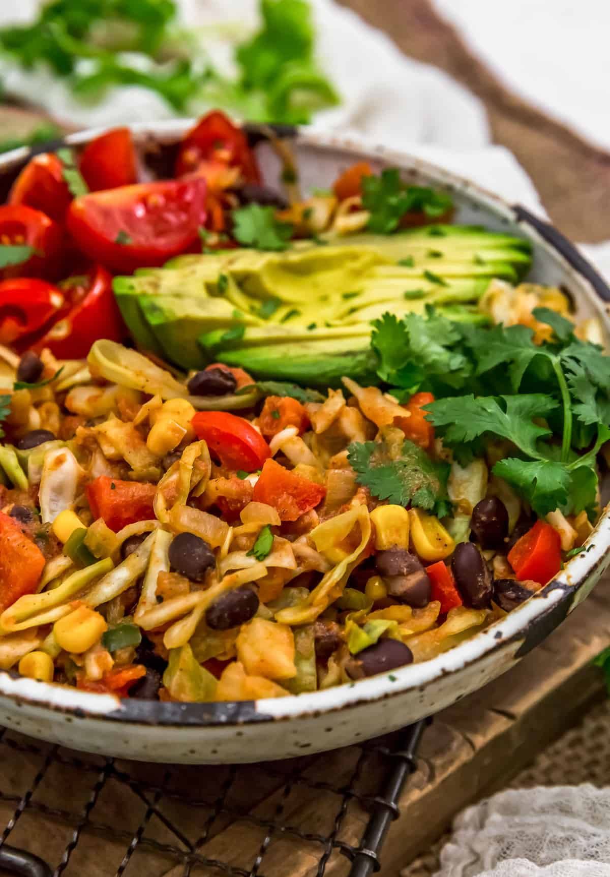 Close up Tex-Mex Cabbage Skillet