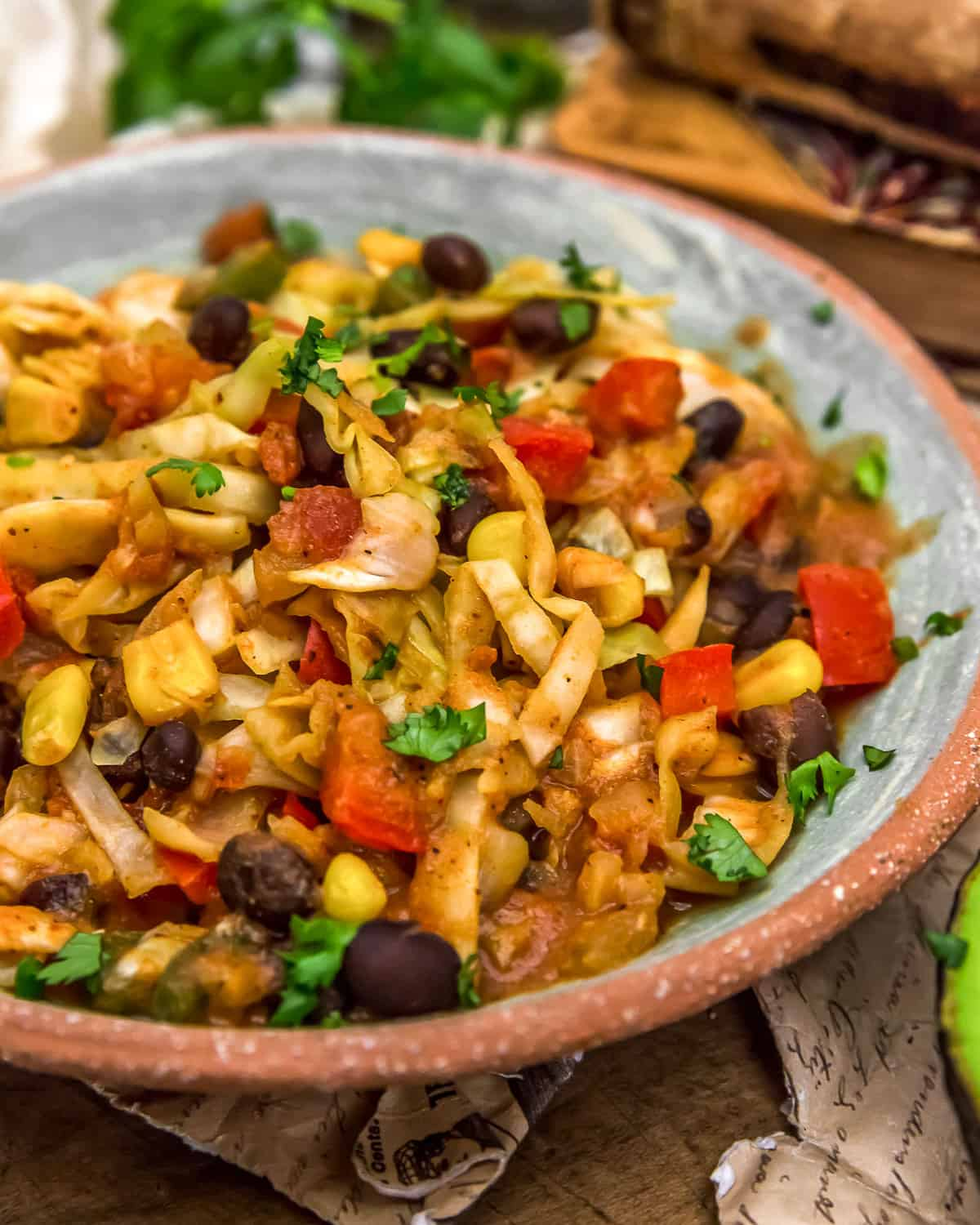 Tex-Mex Cabbage Skillet in a bowl