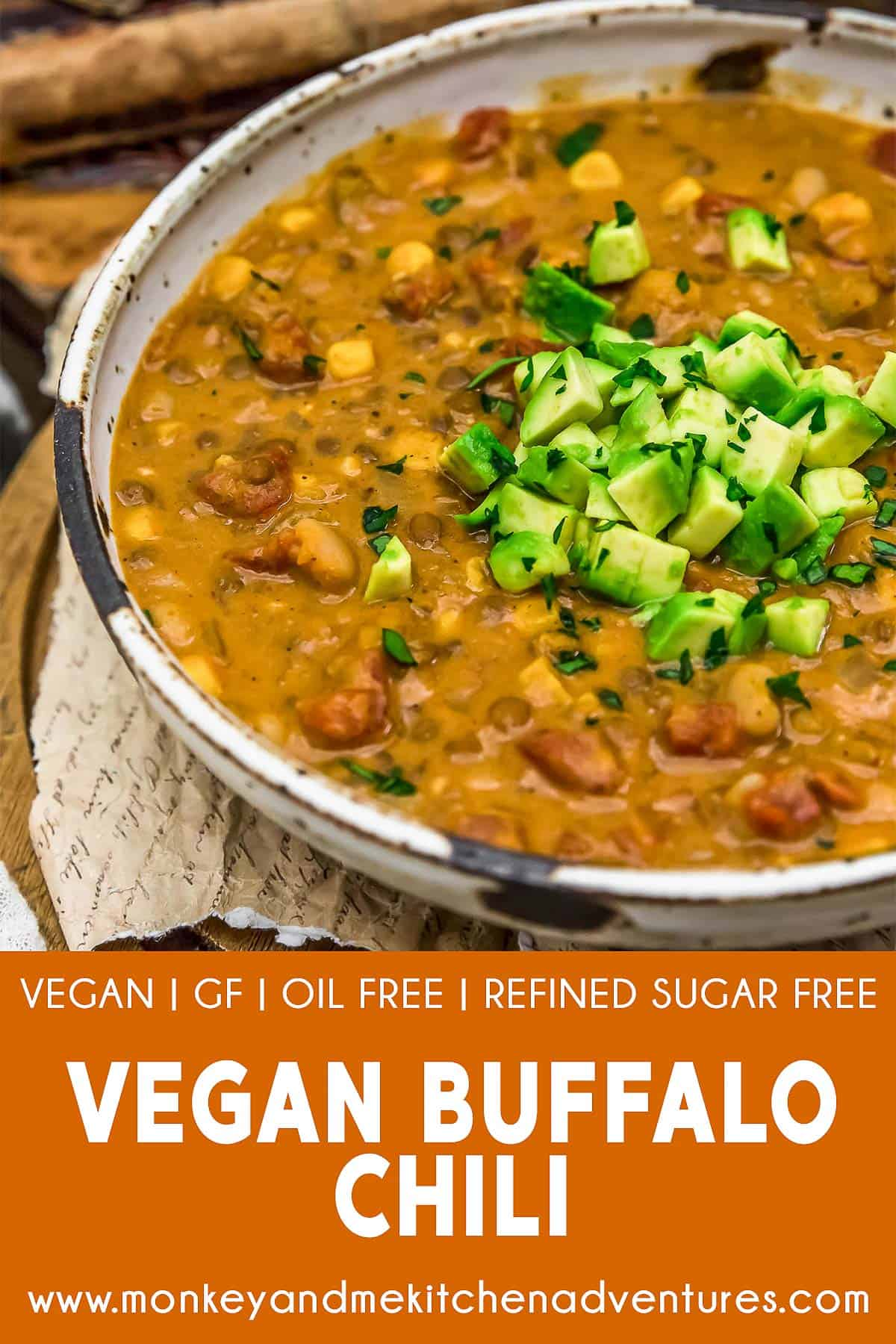 Vegan Buffalo Chili with text description