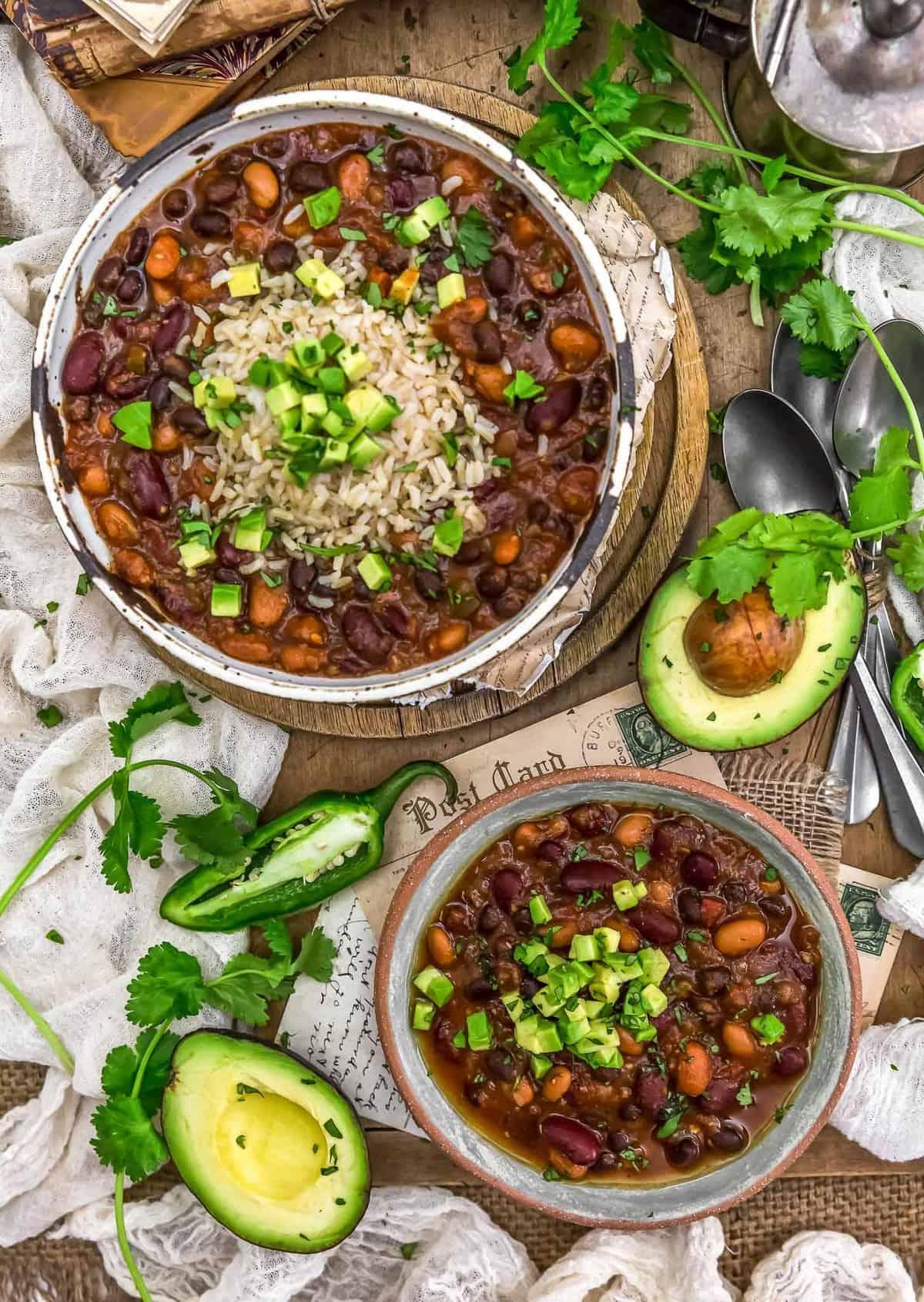 Tablescape of Vegan Charro Beans