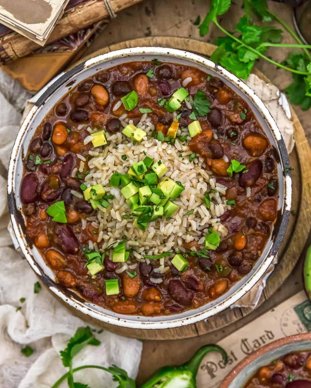 Vegan Charro Beans with brown rice