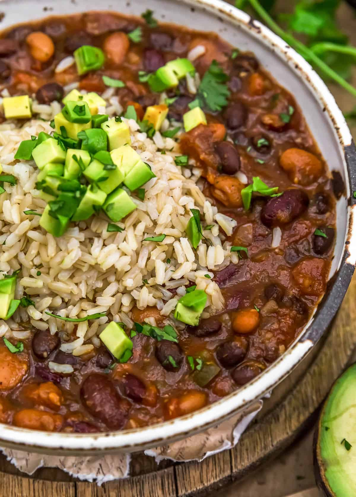 Vegan Charro Beans with brown rice