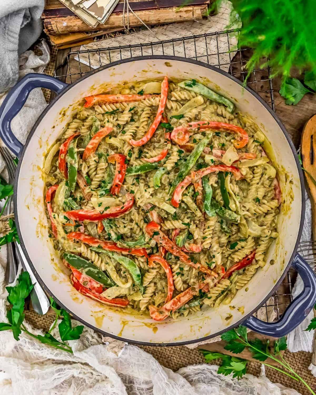 "Tablescape of Vegan ""Cheesesteak"" Pasta Skillet"