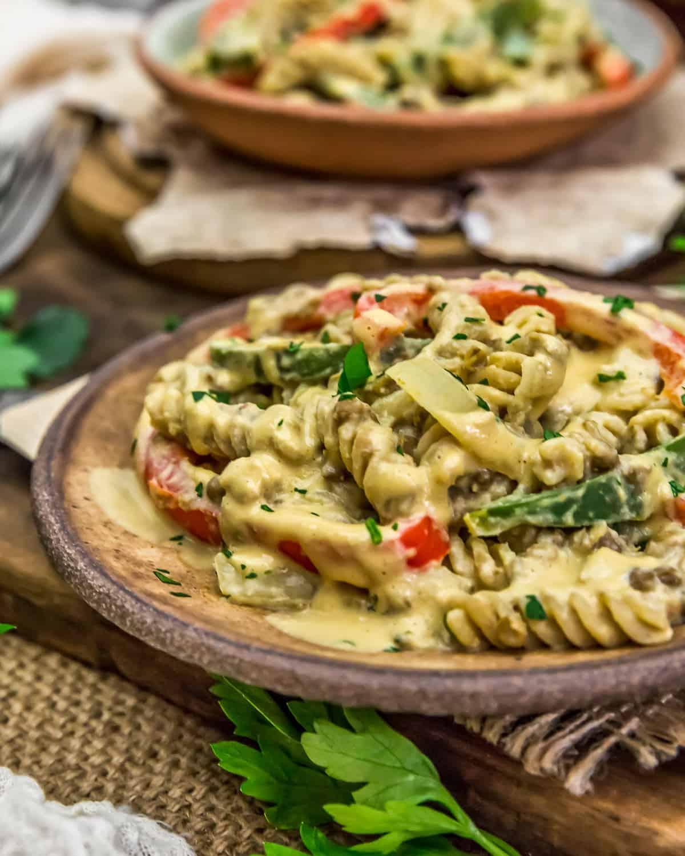 "Close up of Vegan ""Cheesesteak"" Pasta Skillet"