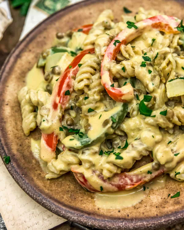 "Vegan ""Cheesesteak"" Pasta Skillet"