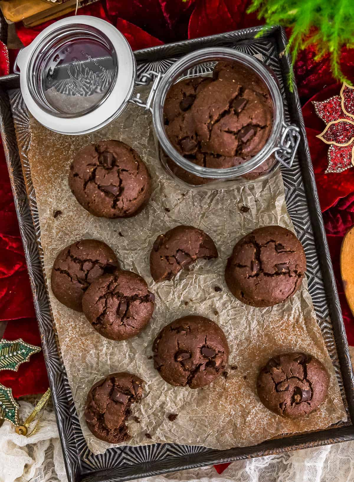 Tray of Vegan Double Chocolate Peppermint Cookies