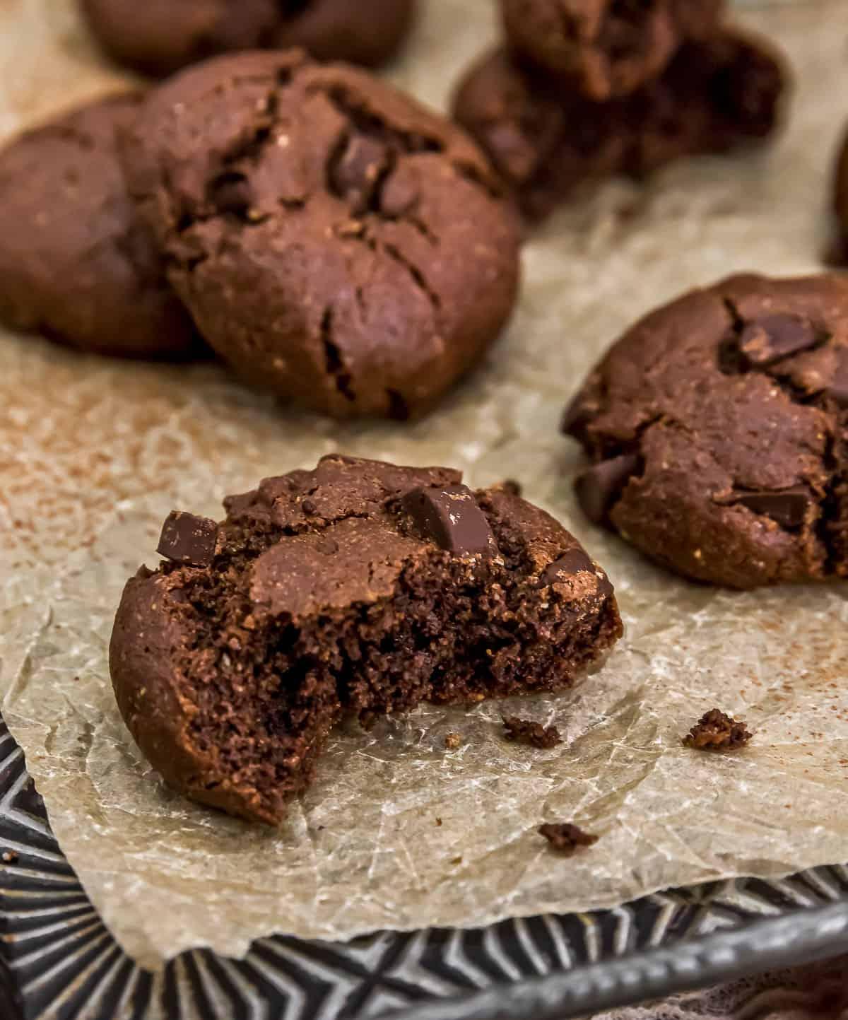 Eating Vegan Double Chocolate Peppermint Cookies