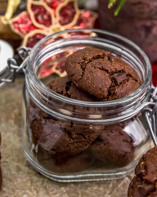 Jar of Vegan Double Chocolate Peppermint Cookies