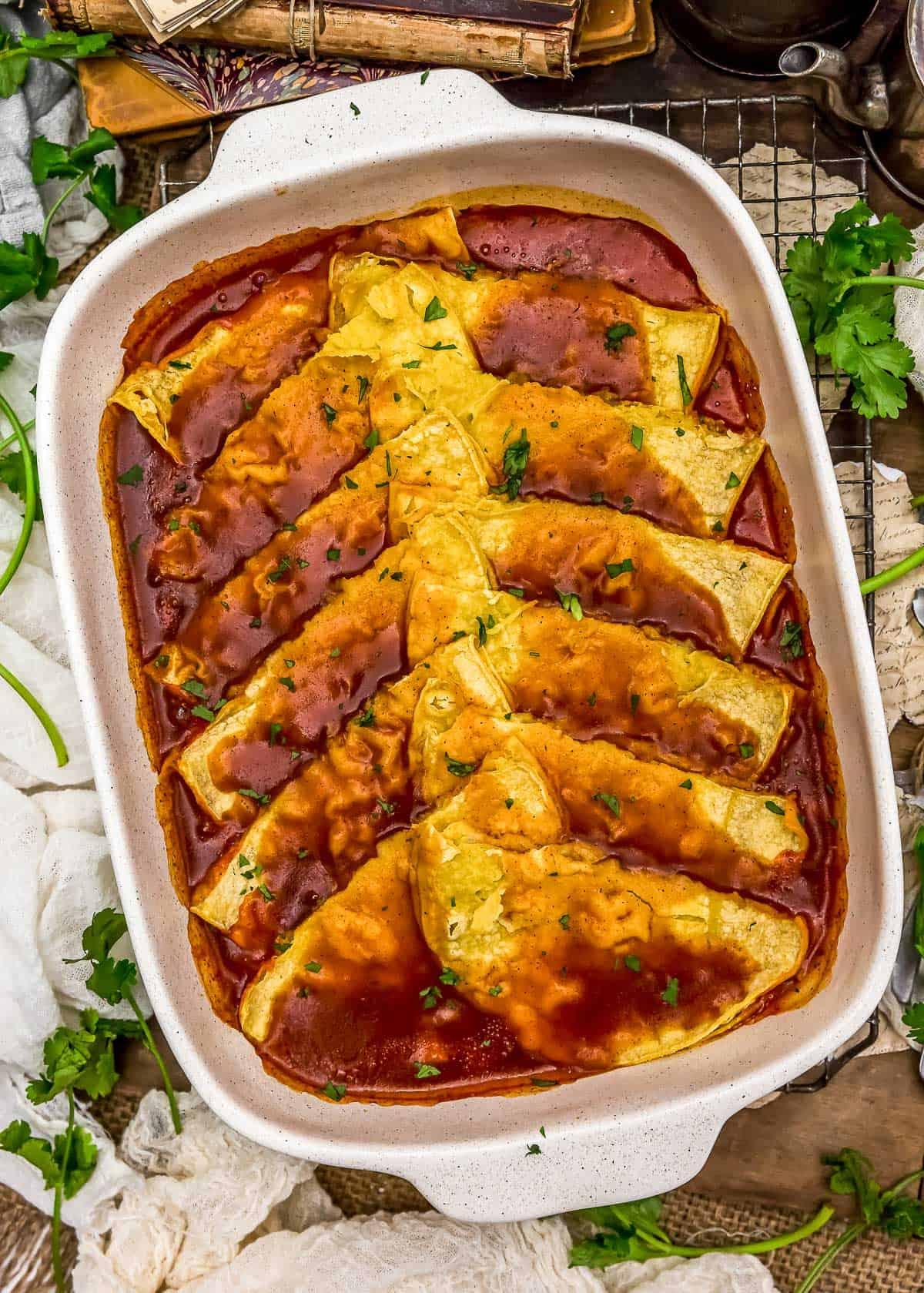 Vegan Enchilada Quesadilla Bake in a casserole dish
