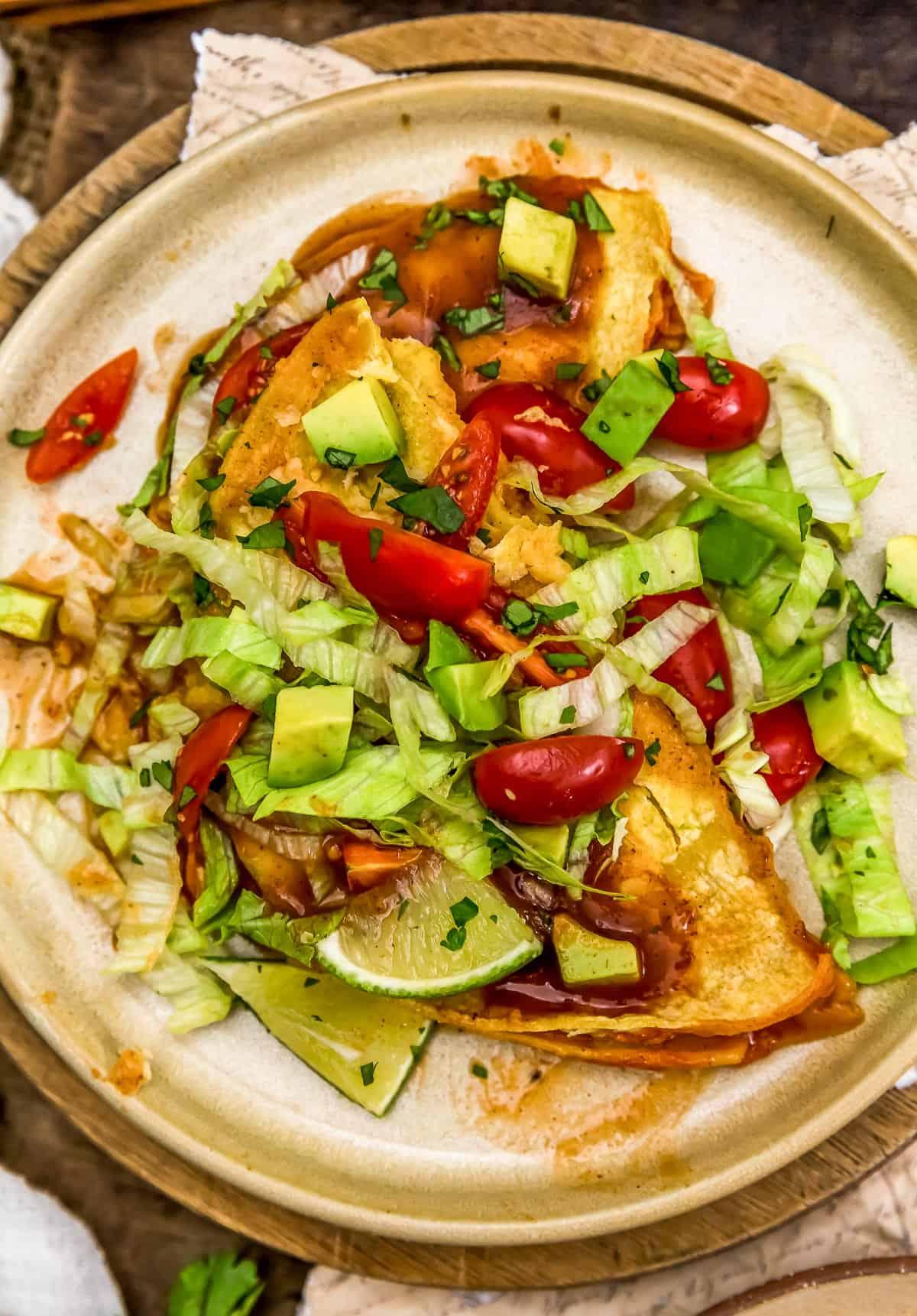 Plated Vegan Enchilada Quesadilla Bake