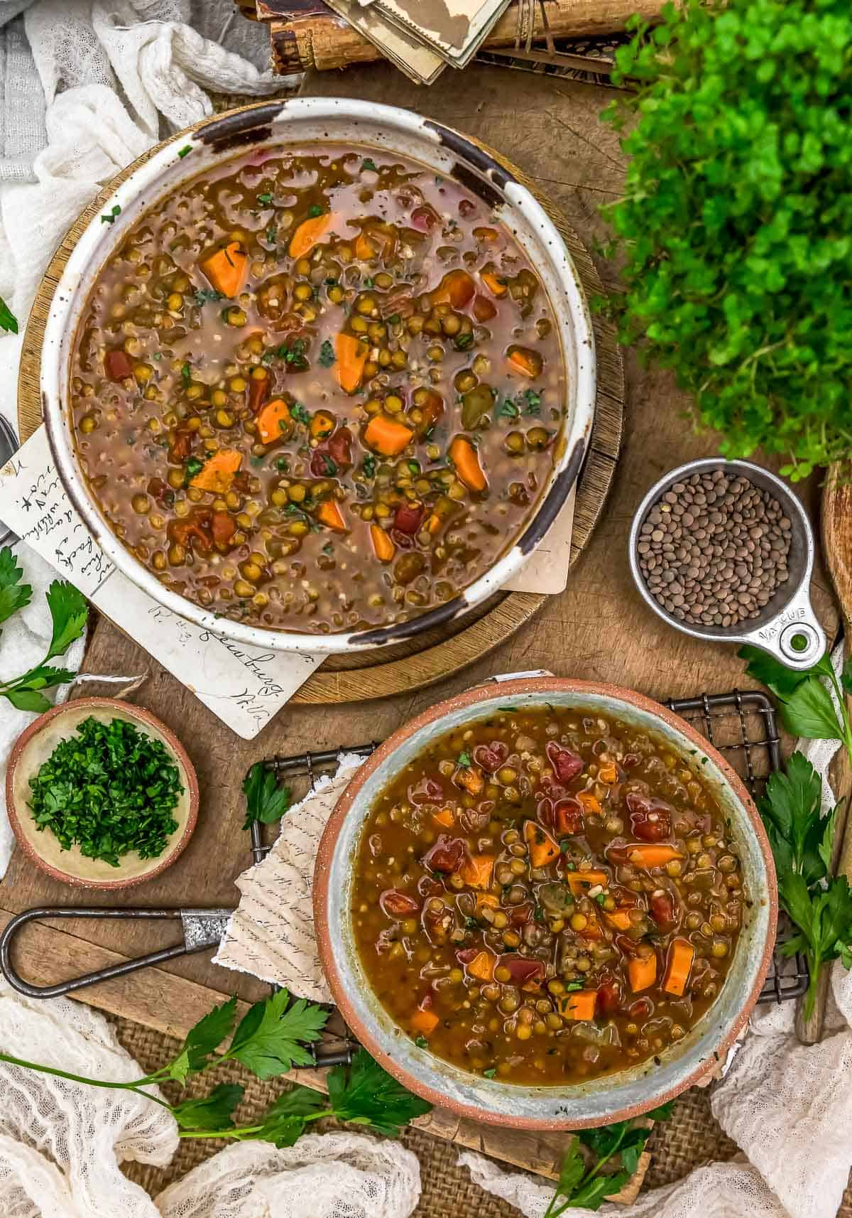 """Tablescape of Vegan Lentil """"Sausage"""" Soup"""