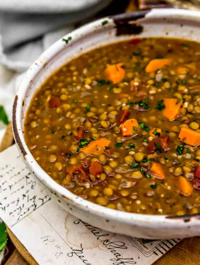 "Close up of Vegan Lentil ""Sausage"" Soup"