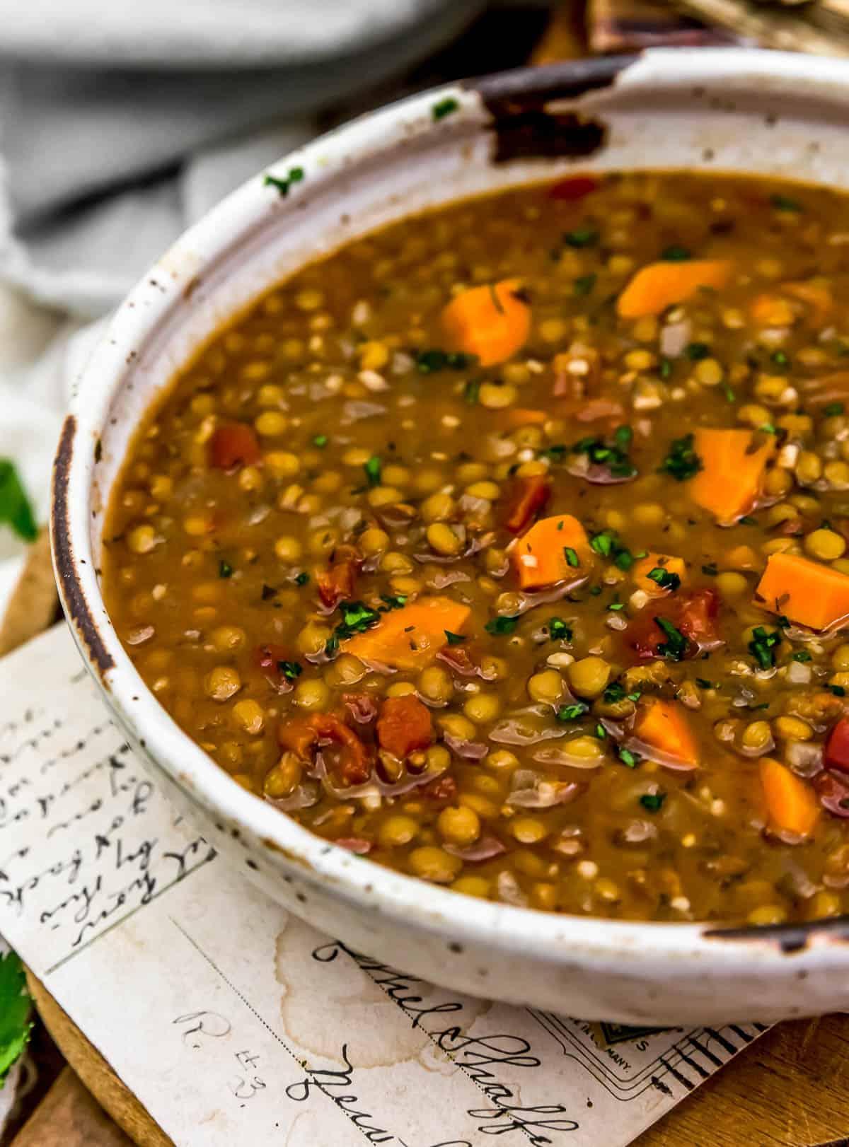 "Close up of Vegan Lentil ""Sausage"" Soup"