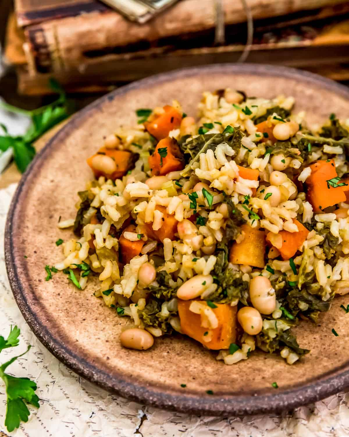 Plate of Roasted Butternut Squash Rice Skillet