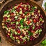 Serving bowl of Oil Free Lebanese Bean Salad