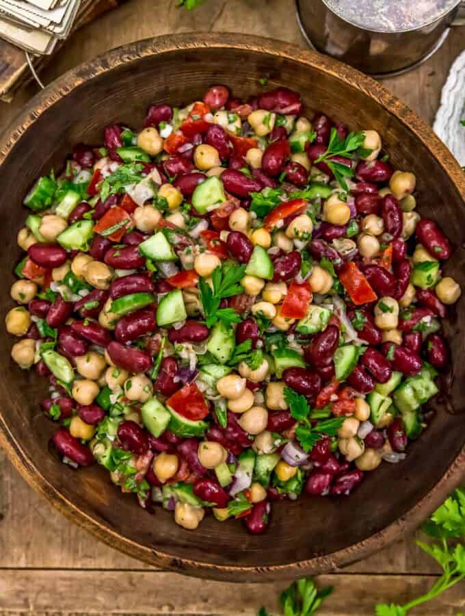 Serving bowl of Oil Free Lebanese Bean Salad