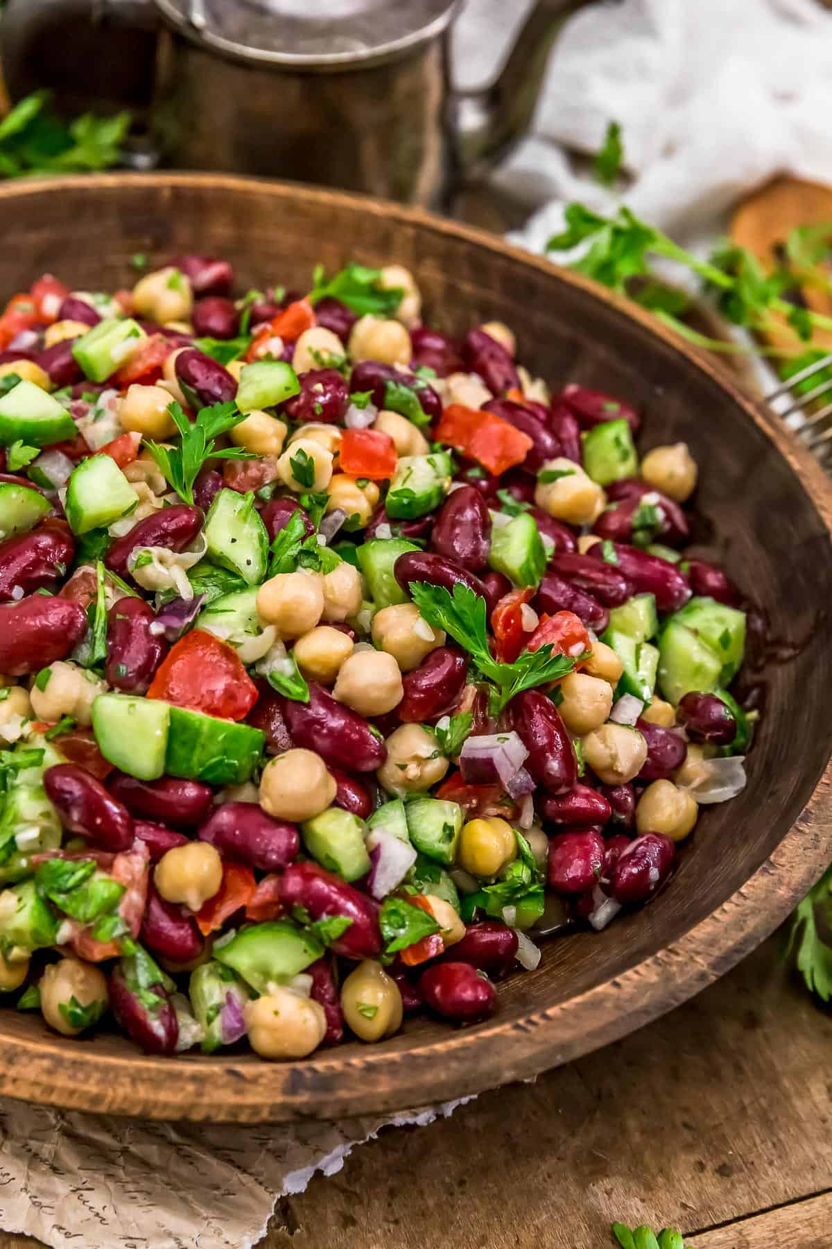 Close up of Oil Free Lebanese Bean Salad