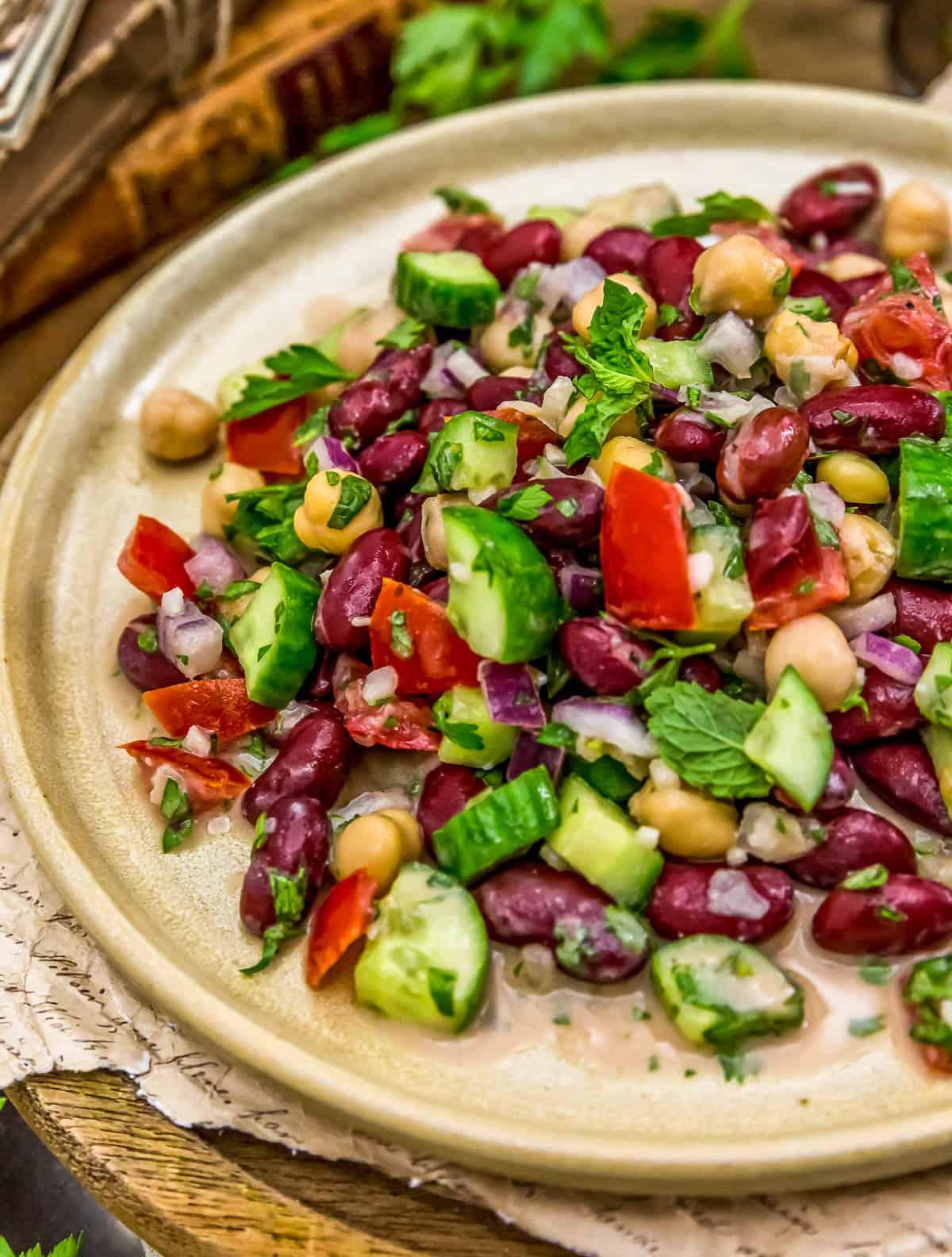 Plate of Oil Free Lebanese Bean Salad