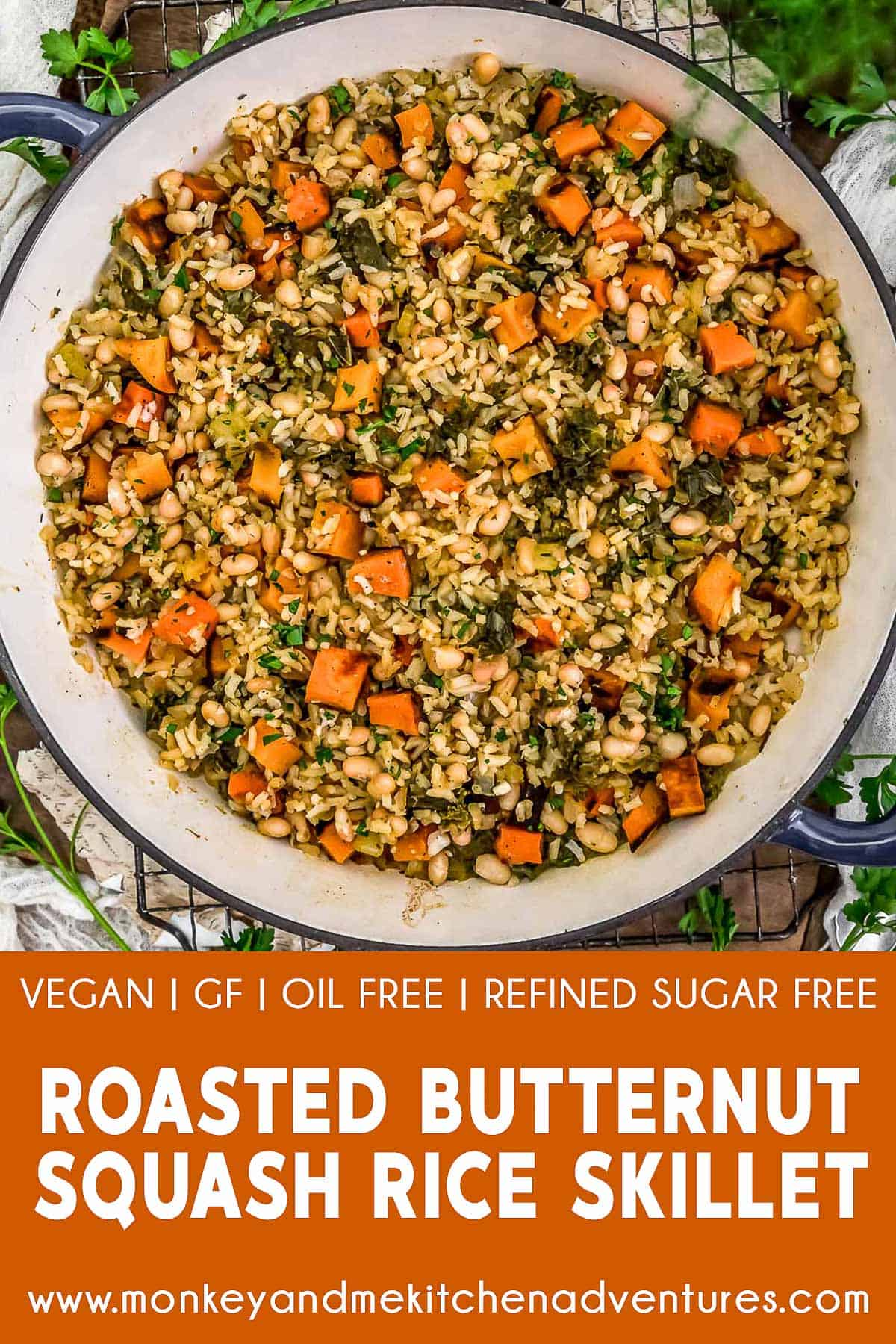 Roasted Butternut Squash Rice Skillet with text description