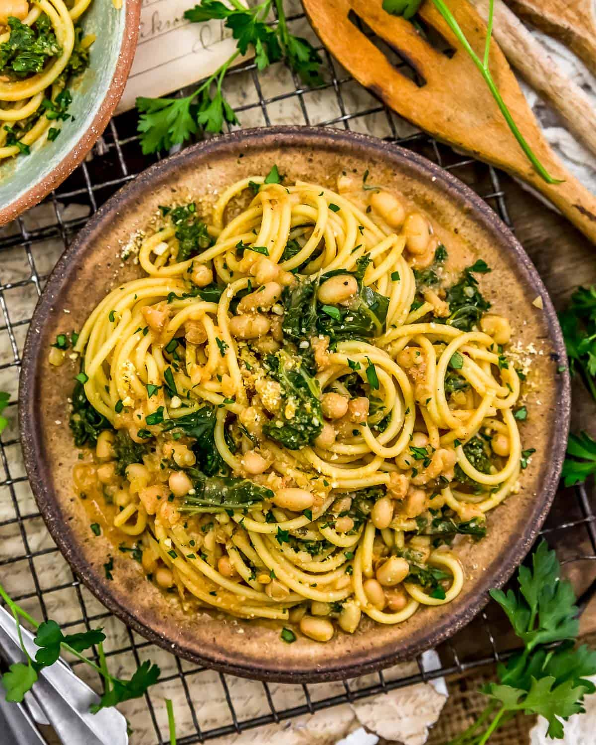 Plate of Smoky Kale and Bean Pasta