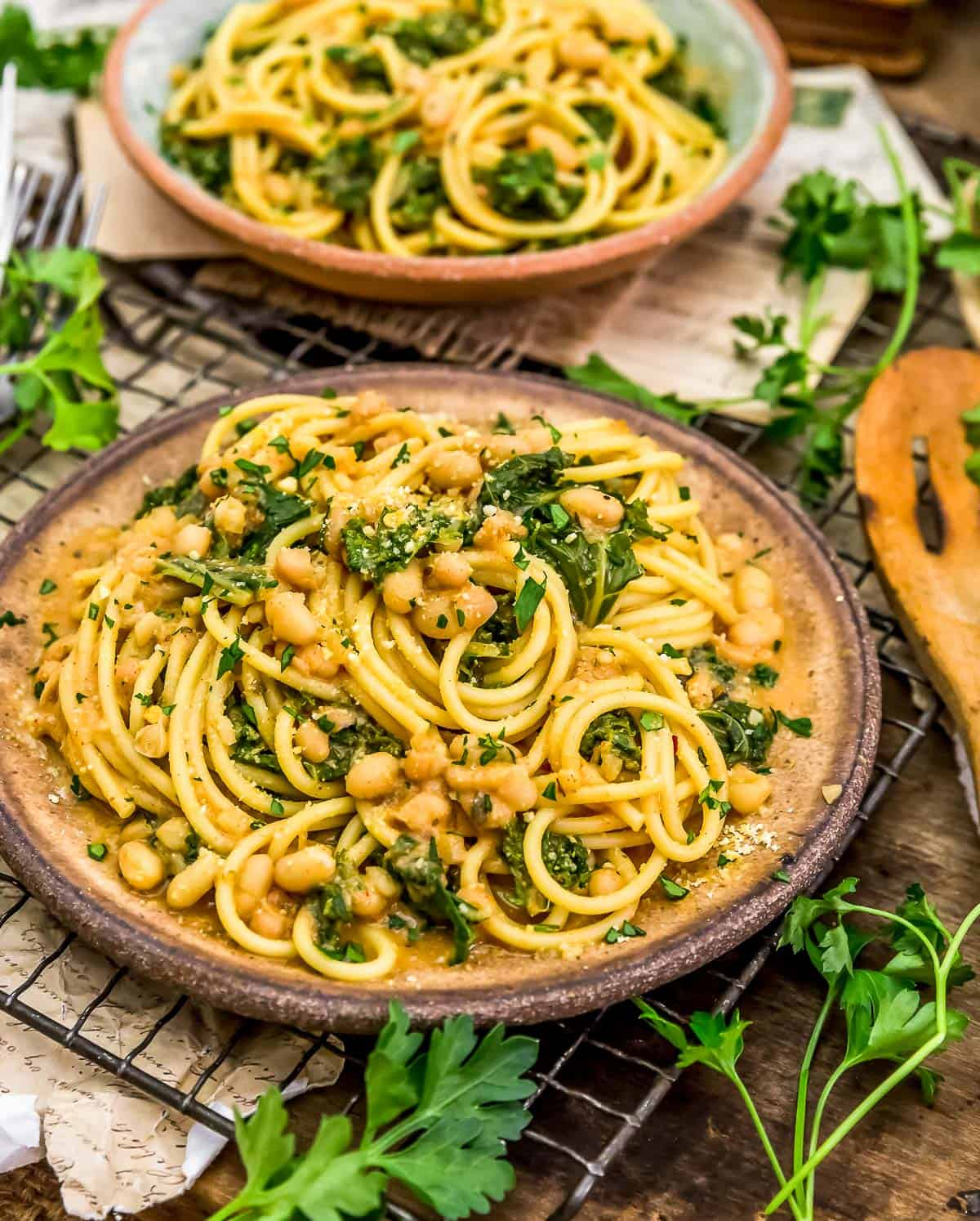 Served Smoky Kale and Bean Pasta