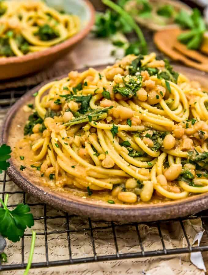 Close up of Smoky Kale and Bean Pasta