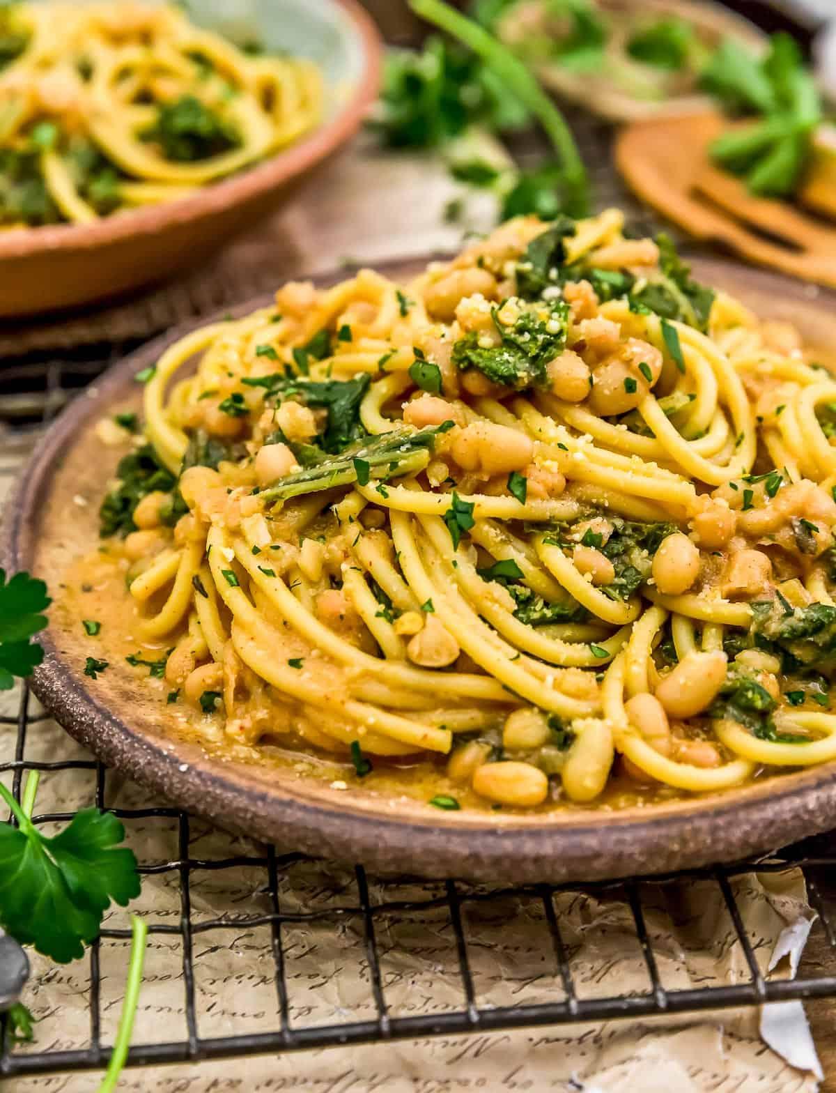 Close up of Smoky Kale and Bean Pasta