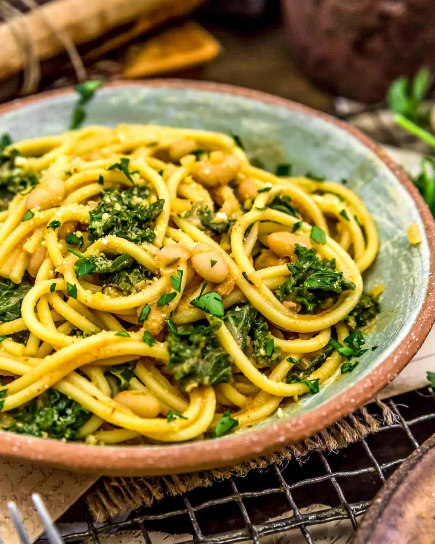 Bowl of Smoky Kale and Bean Pasta