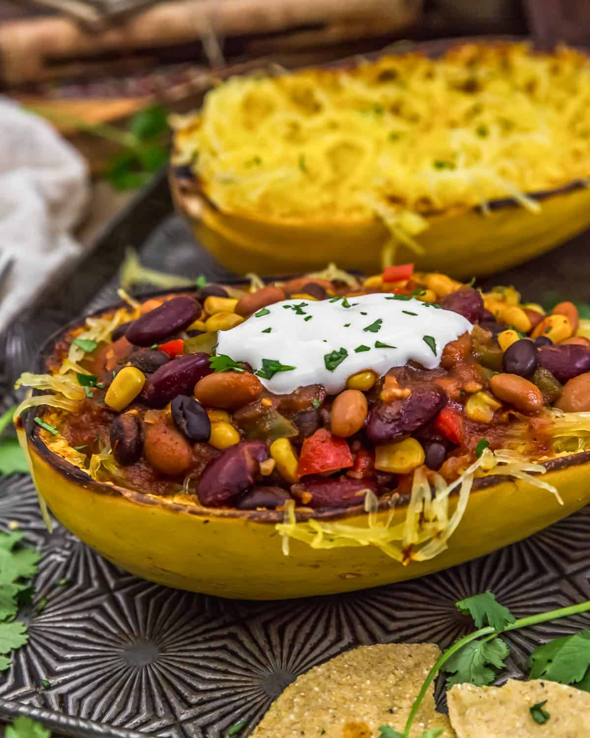 Sweet and Spicy Chili Over Spaghetti Squash