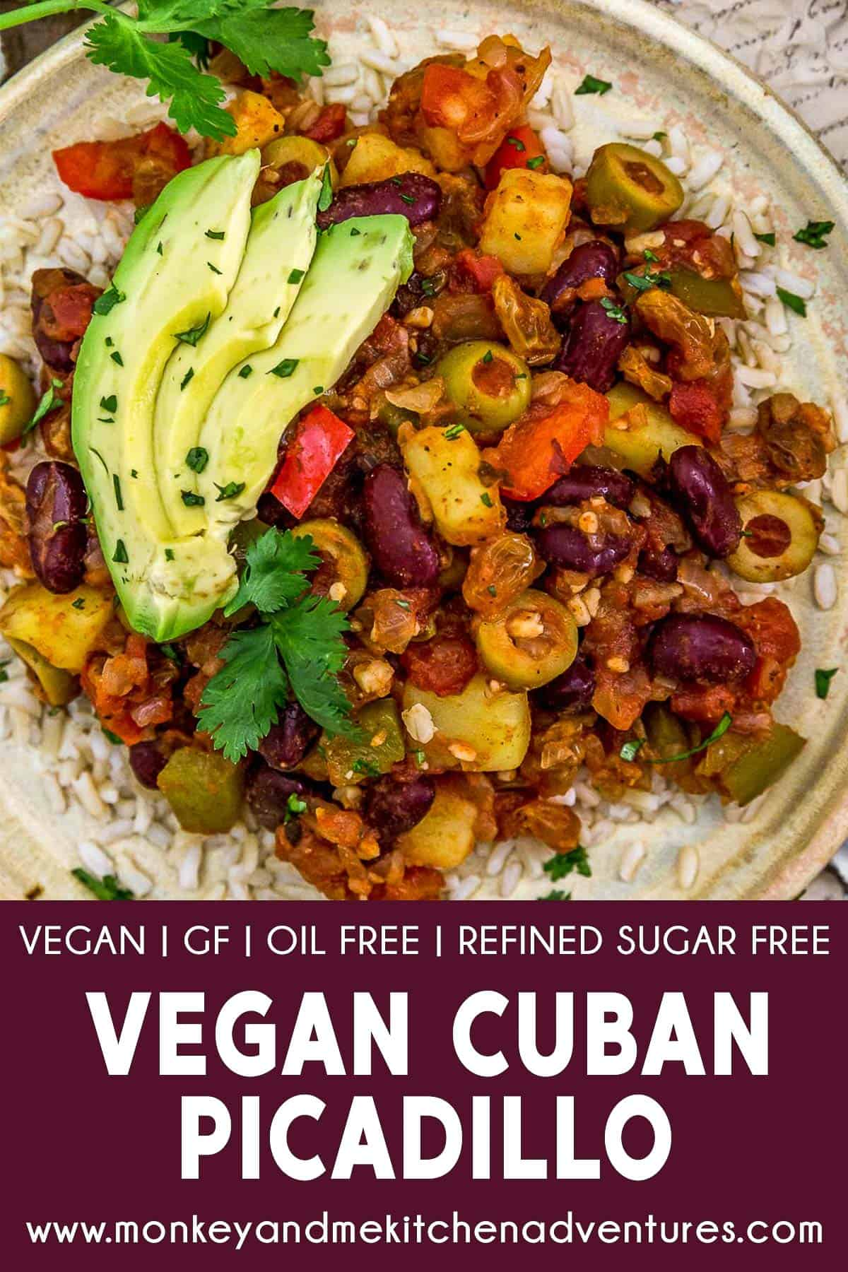 Vegan Cuban Picadillo with text description