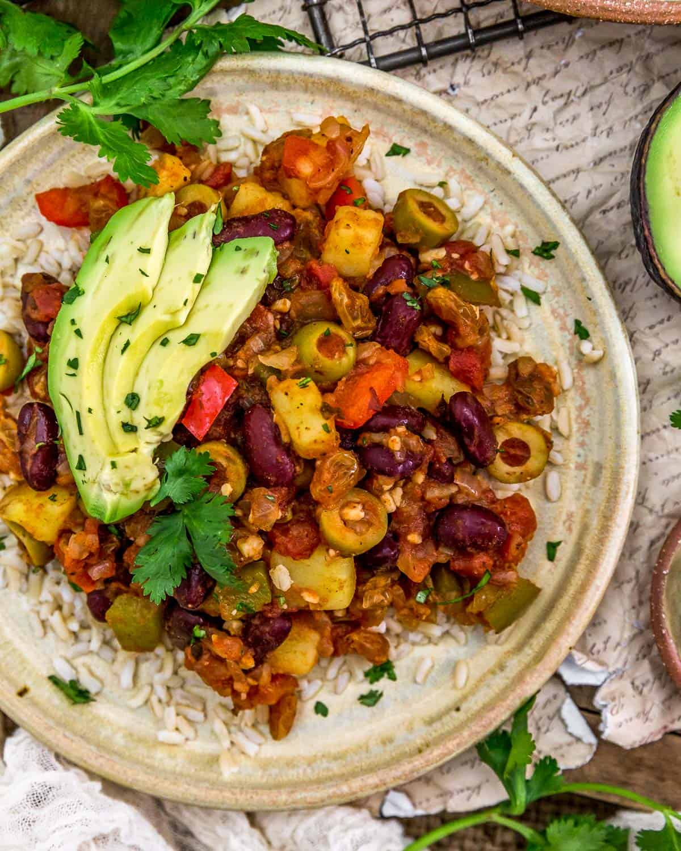 Served Vegan Cuban Picadillo