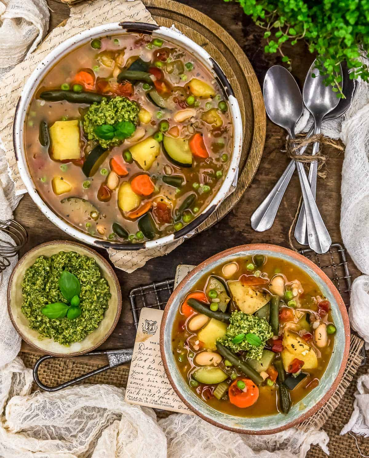 Tablescape of French Vegetable Soup