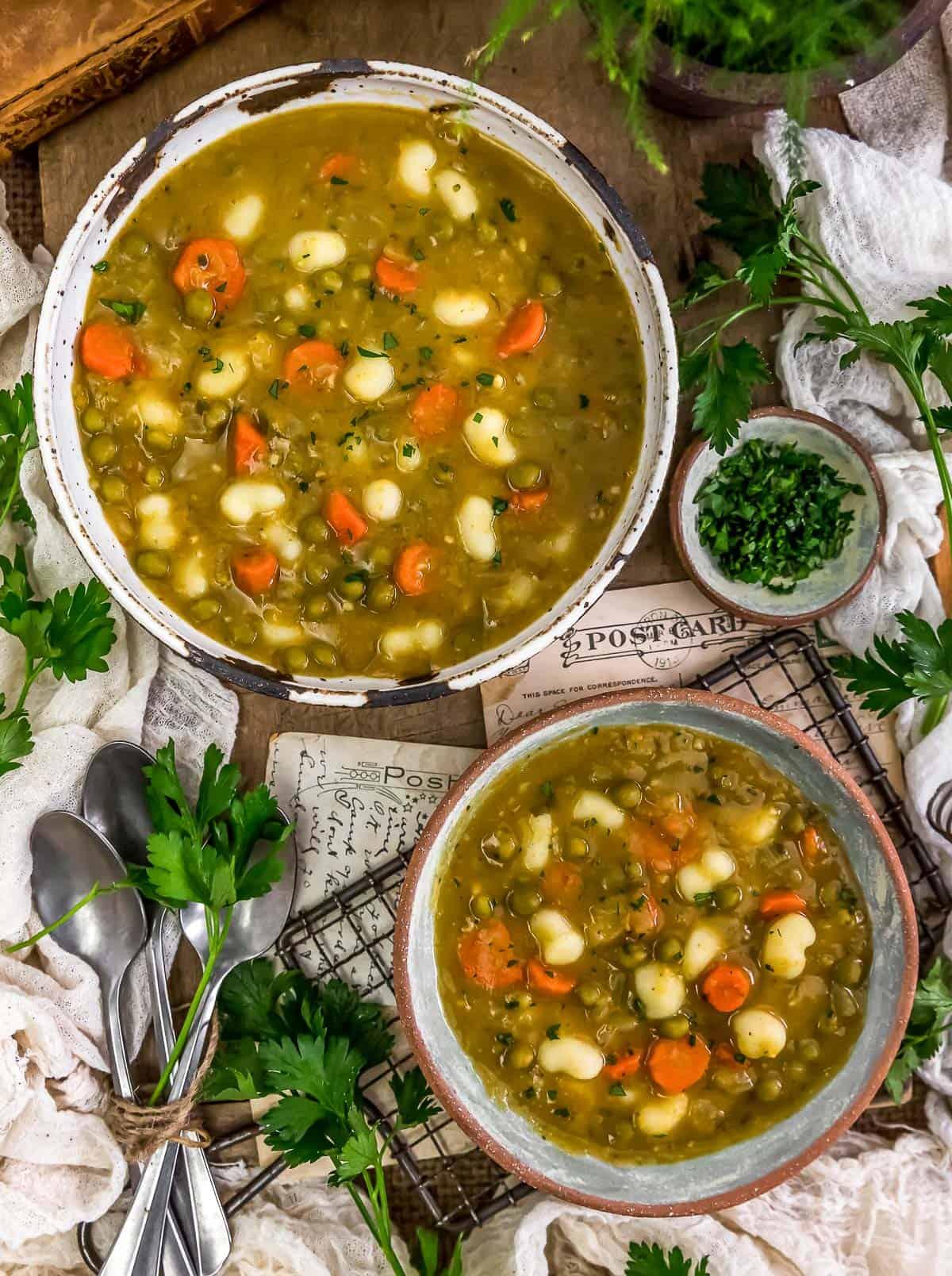 """Tablescape of Split Pea """"Dumpling"""" Soup"""
