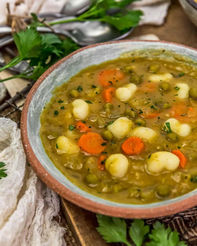 """Close up of Split Pea """"Dumpling"""" Soup"""