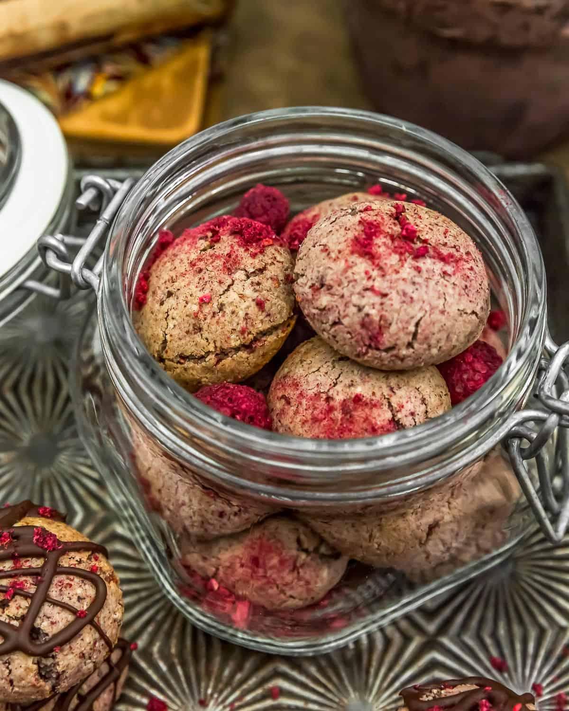 Jar of Vegan Chocolate Raspberry Cream Cookies