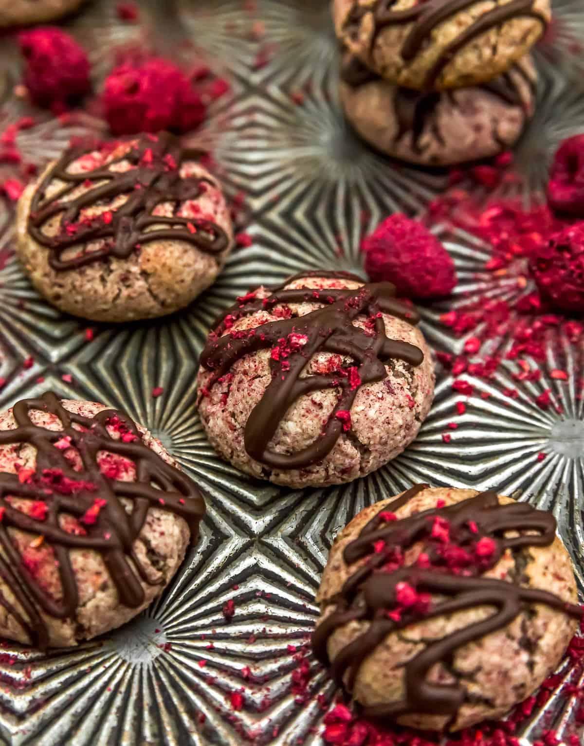 Tray of Vegan Chocolate Raspberry Cream Cookies
