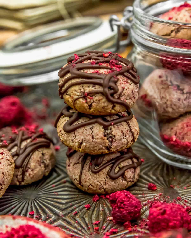 Stacked Vegan Chocolate Raspberry Cream Cookies