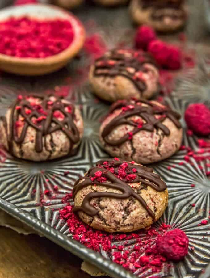 Close up of Vegan Chocolate Raspberry Cream Cookies