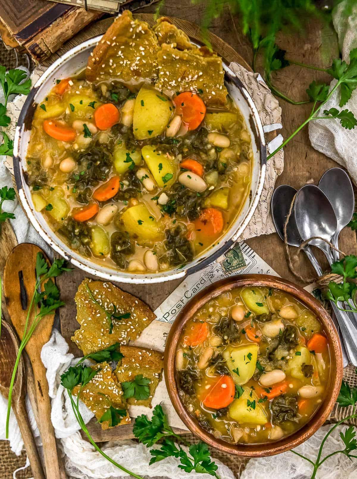 "Tablescape of Vegan Potato ""Keilbasa"" Kale Soup"