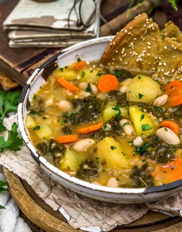 """Close up of Vegan Potato """"Kielbasa"""" Kale Soup"""